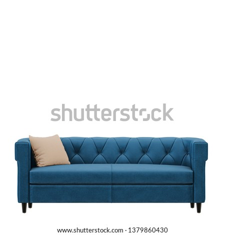 Blue sofa with pillow isolated background 3d rendering