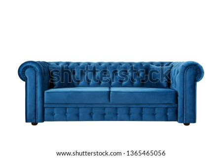 Blue sofa with Thiele Chesterfield, magnificent, convenient isolate #1365465056