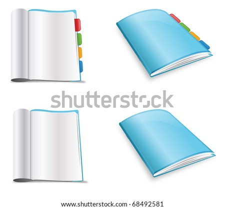 Blue soft cover book with and without tabs
