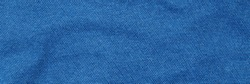 Blue soft fabric background, banner. Fine knitted blue cotton cloth texture, fashion background