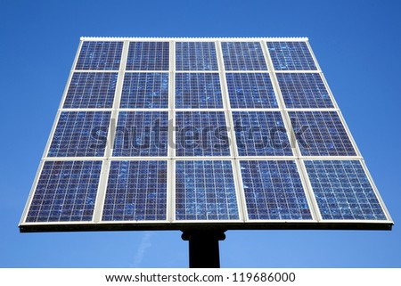 blue solar panel and very blue sky