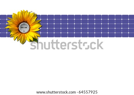 Blue solar panel with sunflower and socket against white background
