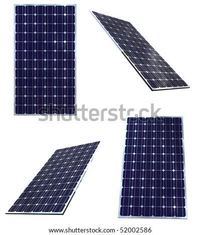 Blue solar panels in different positions  isolated on white background