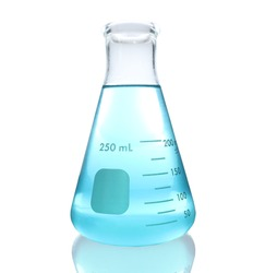 Blue solution in Erlenmeyer flask on white background with clipping path. Erlenmeyer flask size 250 milliliter with that contains the blue liquid.