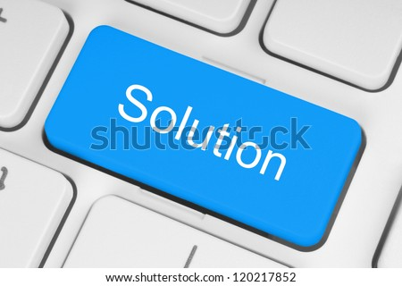 Blue solution keyboard button - stock photo