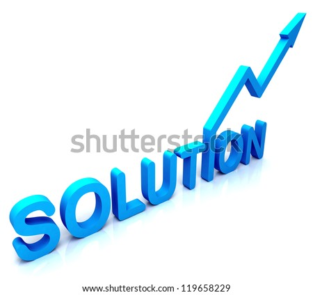 Blue Solution Word Showing Success Achievement And Strategy