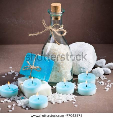 Blue spa still life - stock photo
