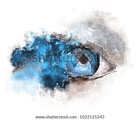 Blue Space and eyes - watercolor Illustration. Drawing isolated on white background. Fantasy print. surrealism.