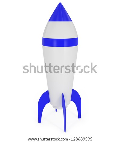 Blue Space Rocket isolated on white - 3d illustration