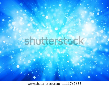 Blue sparkle rays with bokeh abstract elegant background. Dust sparks background.