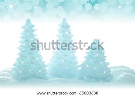 Blue sparkling Christmas tree ornaments.