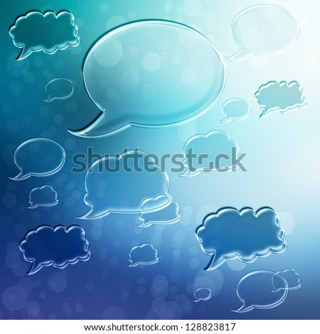 Blue Speech Bubbles on Blue Gradient Background