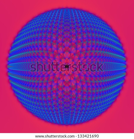 Blue Sphere on Pink / Digital abstract fractal image with a spherical design in blue on a pink background.