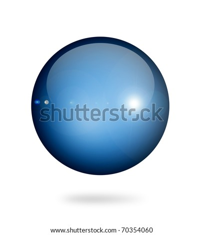 Blue sphere on white background. Object illustration