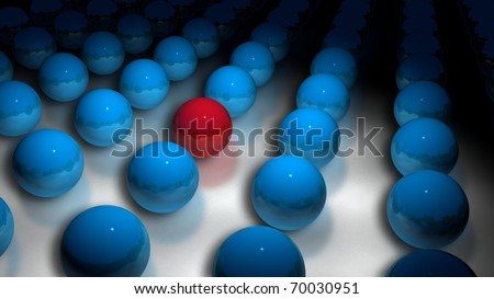 blue spheres on a floor with one red sphere that fades out in the distance