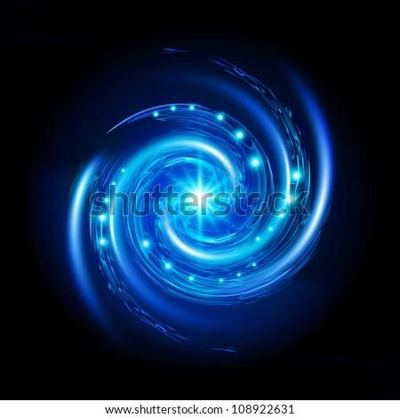 Blue Spiral Vortex with Stars. Illustration on black background
