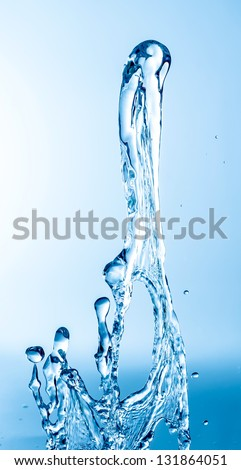 blue splash close up shoot - stock photo