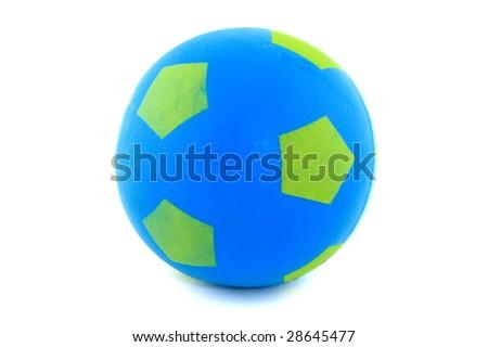 Blue sponge soccer ball isolated on white
