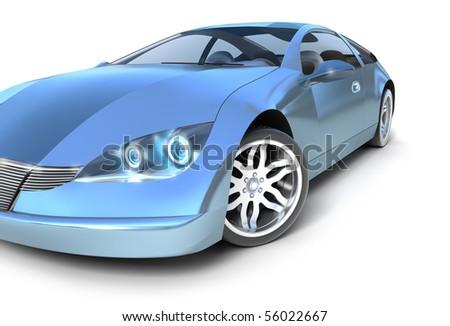 Blue sport car .3D image. My own design
