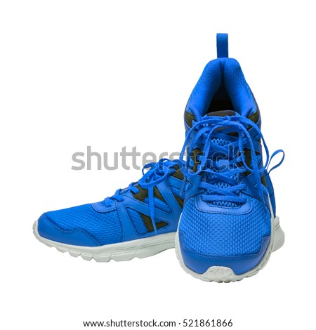 Blue sport running shoes isolated on white background