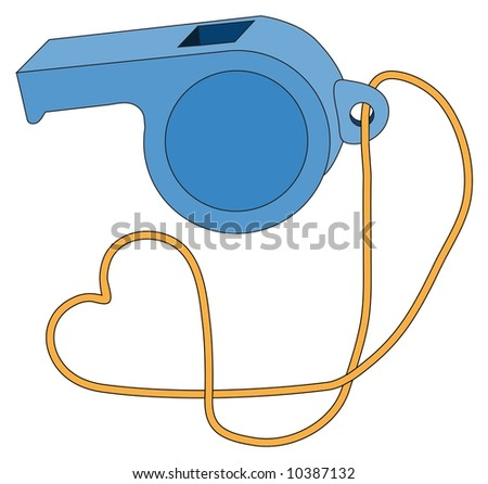 Blue sports whistle on gold string (with heart shape) - stock photo