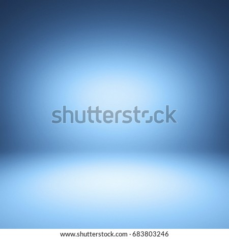 Blue spotlight background. Empty blue studio. 3D illustration.