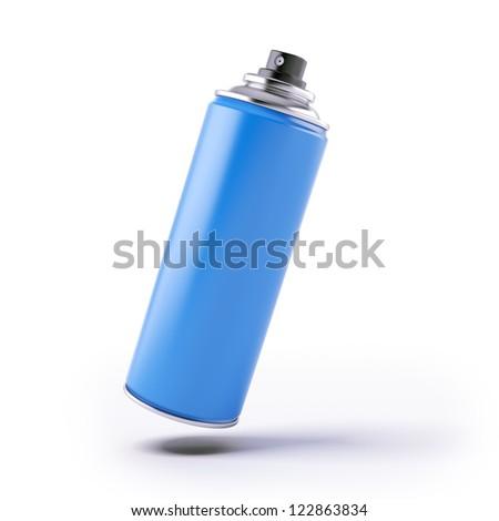 Blue spray can isolated on a white background