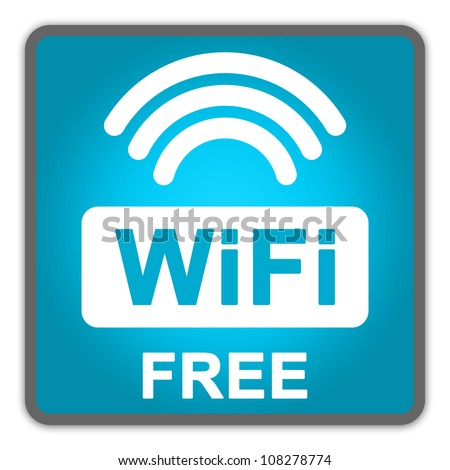 Blue Square Glossy Style Icon With WiFi Free Sign Isolate on White Background
