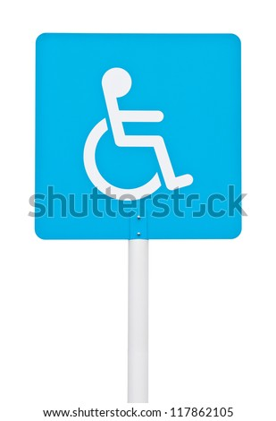 blue square handicap sign with wheelchair on post pole (isolated on white background)