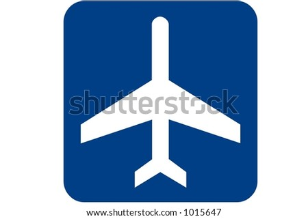 Blue square recreational sign isolated on a white background with the Airport international symbol displayed