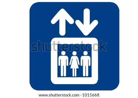 Blue square recreational sign isolated on a white background with the Elevator international symbol displayed
