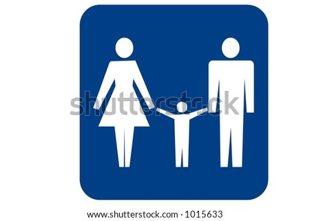 Blue Square Recreational Sign Isolated On A White Background With The Family Restroom
