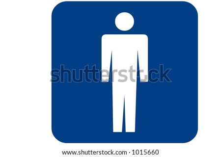 Blue square recreational sign isolated on a white background with the mens room international symbol displayed