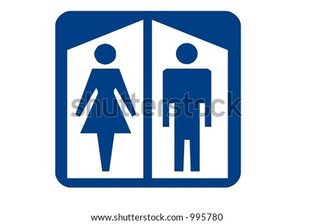 Blue Square Recreational Sign With The International Symbol For Restroom Displayed And Isolated
