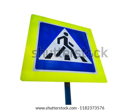 blue square road sign pedestrian crossing. Pedestrian crossing sign on the yellow shield isolated on the white