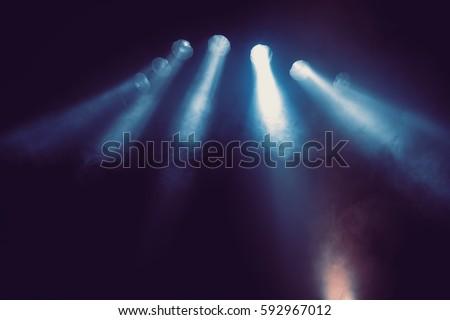 Blue stage lights. #592967012