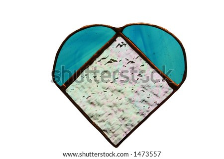 Blue stained glass hand crafted heart with copper accents.  Has clipping path. - stock photo