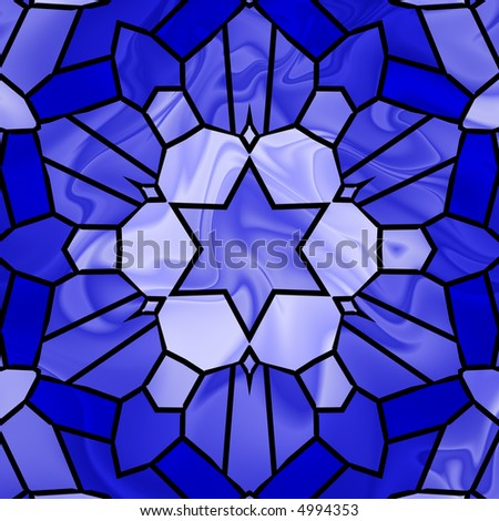 Blue stained glass illustration of six pointed star.