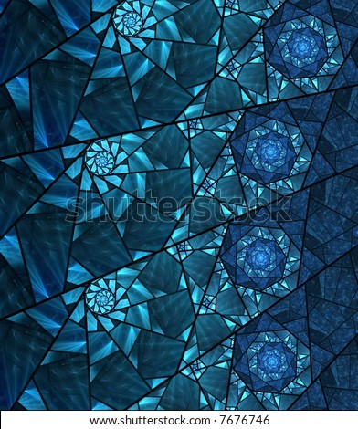 blue stained glass window fractal