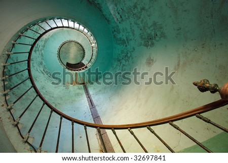 blue staircase of old Hourtin lighthouse, Gironde, France