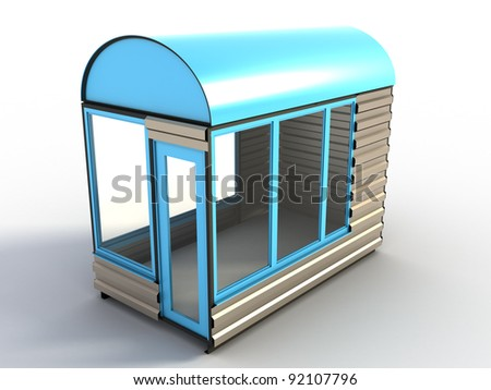 Blue stand on a white background