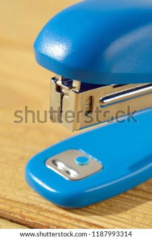 Blue Stapler close up Shallow Depth of Field