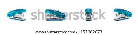 Blue stapler isolated on a white background