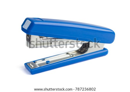Blue stapler isolated on a white background.