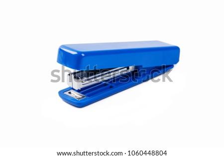 Blue stapler isolated on white background.