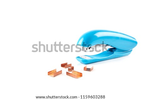 Blue stapler isolated on white background. School stationery