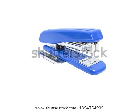 Blue stapler of office stationery  isolated on white background