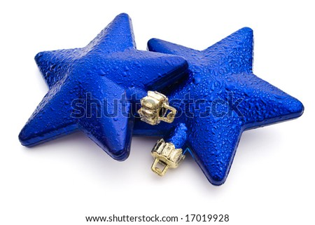 blue star Christmas decorations isolated on white