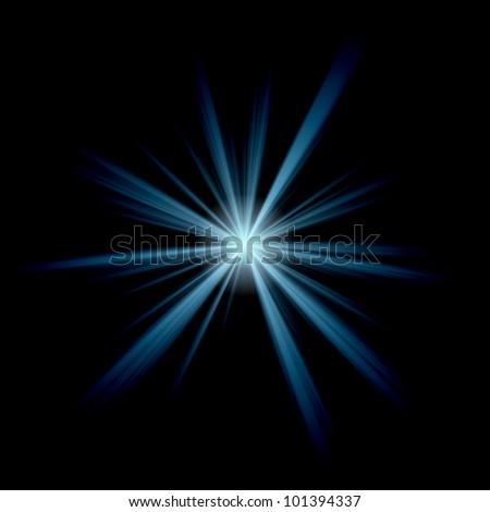 blue star on black background - stock photo