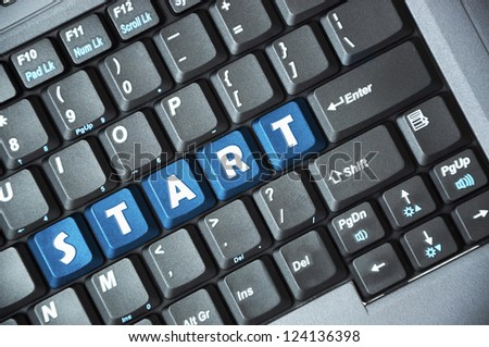 Blue start key on keyboard